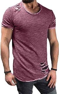 qianqianq Mens Rib-Knit Slim Fit Ripped Tops Crew-Neck Short Sleeve T-Shirt
