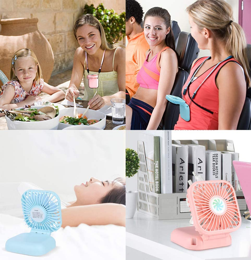 Mini Portable Neck Fan, GILETTOR 3000mAh Personal Handheld Fan with Flexible 180 Rotation, USB Rechargeable Battery, 3 Speed Adjustable, Foldable Quiet HandFree Fan for Outdoor Office Travel Camping Blue