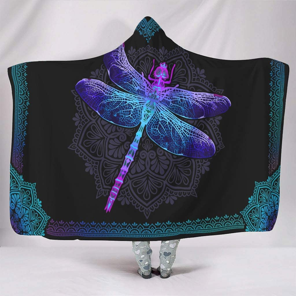 Buweirezhi Dragonfly Hooded Large special price !! Blanket Wearable Super intense SALE Blank Skin-Friendly