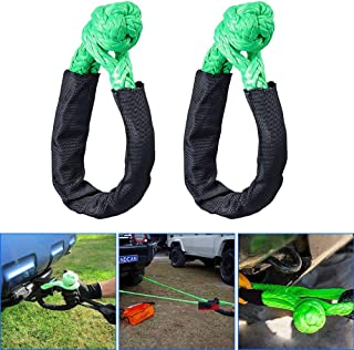 samman Synthetic Shackle Rope Green 38,000 lbs Breaking Strength 1/2'' x 7'' WLL 15,000 Soft Winch Towing Rope with Protec...