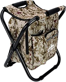 Best Camo Backpack Cooler and Stool - Collapsible Folding Camping Chair and Insulated Cooler Bag with Zippered Front Pocket and Bottle Pocket – for Hiking, Beach and More - by Outrav Review