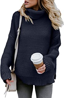 Womens Long Sleeve Turtleneck Knit Pullover Sweater