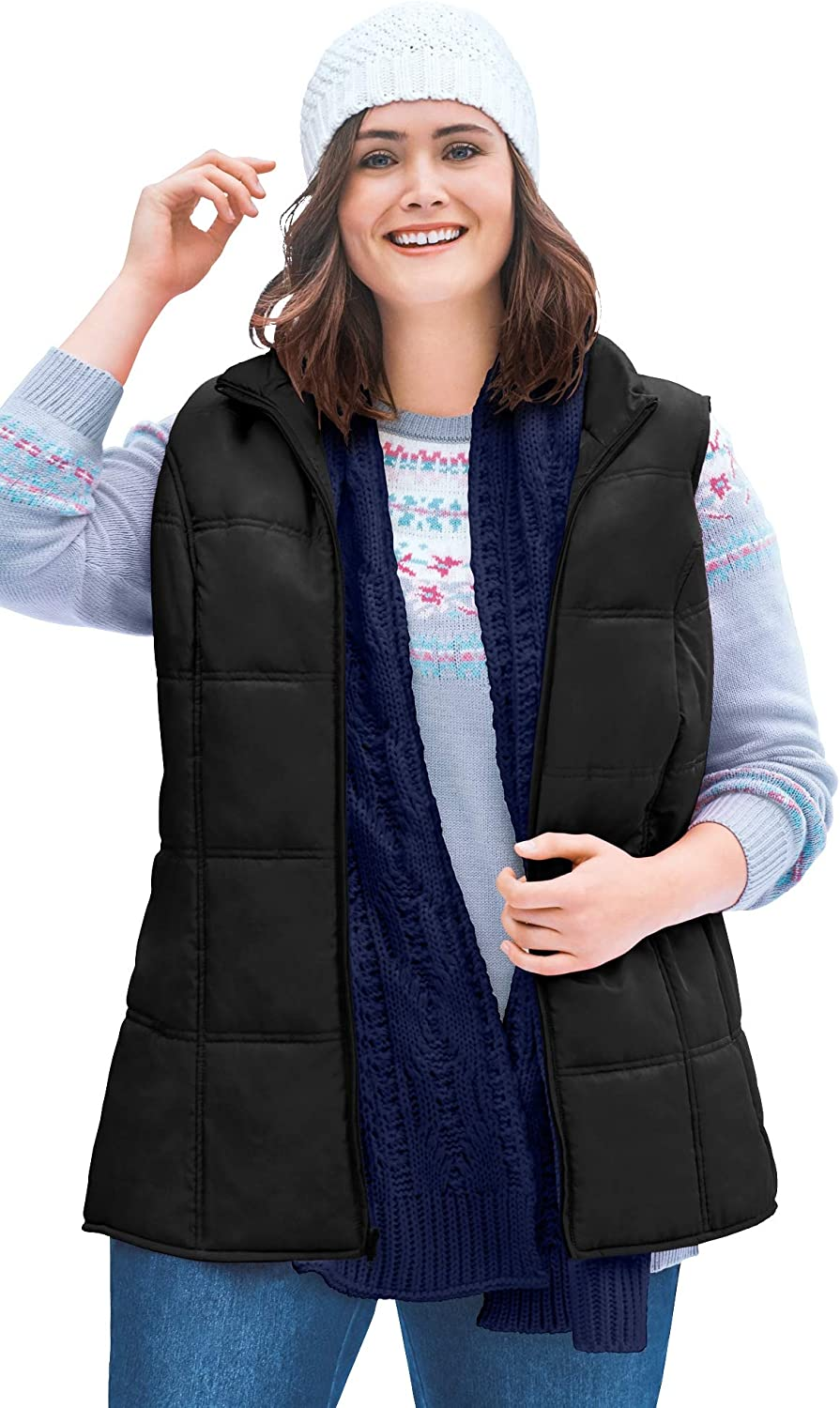 Woman Within Women's Plus Size Quilted Vest