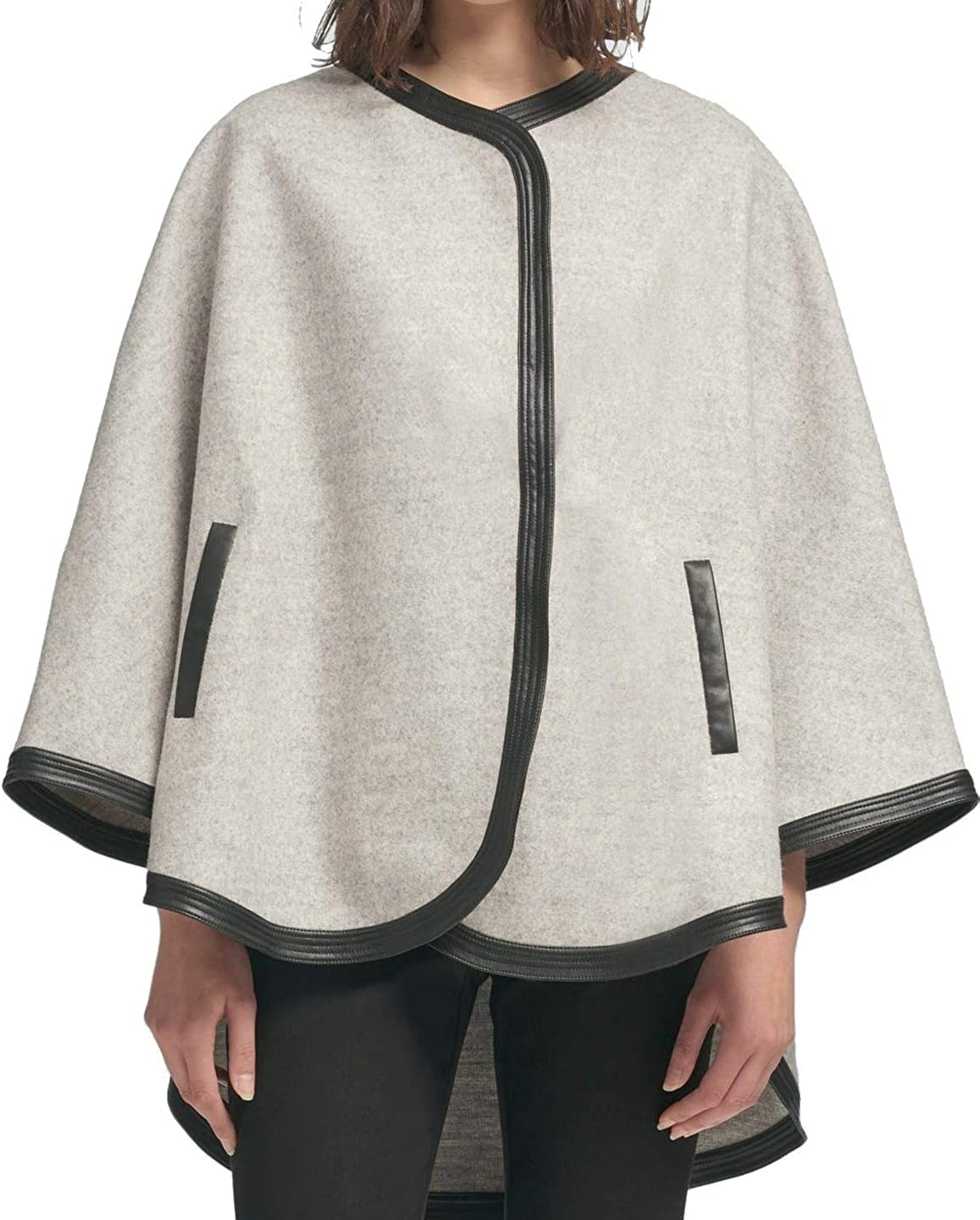 DKNY Womens Faux Leather Trim Poncho Jacket, Grey, Large