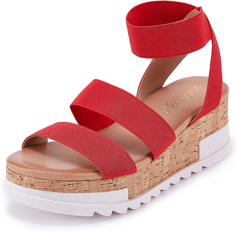 Women's Wedge Sandals Platform Elastic Ankle Straps Open Toe Slingback Cork Lightweight Summer Sandal