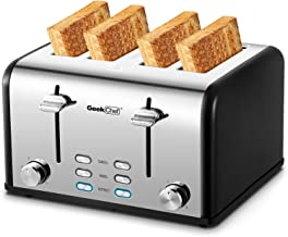 Toaster 4 Slice, Geek Chef Stainless Steel Extra-Wide Slot Toaster with Dual Control Panels of Bagel/Defrost/Cancel Functi...