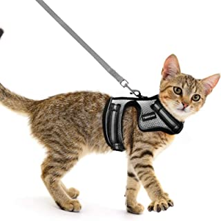 rabbitgoo Cat Harness and Leash for Walking Escape-Proof, No Choke Reflective Vest Harnesses for Small and Average Adult C...
