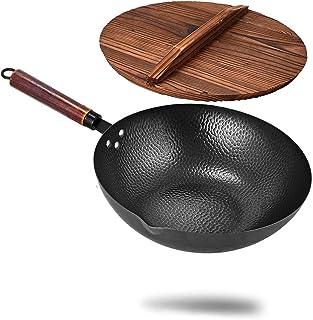 Poêle Wok en Fonte Martelé À La Main Wok en Acier Carbone Wok en Fonte avec Poignée en Bois avec Couvercle pour La Cuisine...