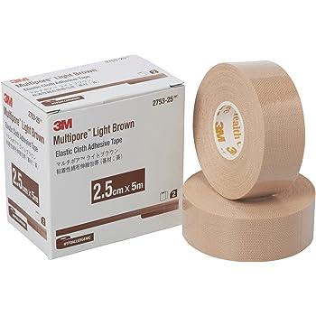 3M 包帯 粘着性綿布伸縮 ライトブラウン 2.5cm幅x5m 2巻 マルチポア 2753-25