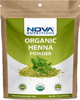 Nova Nutritions Certified Organic Henna Powder 16 OZ (454 gm) - 100% Natural & Chemical Free