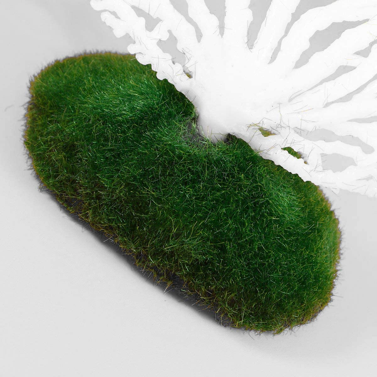 Green COMOK Aquarium Decortion Lifelike Rubber Fake Coral Ornament with a Resin Base for Aquariums Fish Tank Decoration