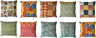 MyCrafts Indian Handmade Pillowcase Kantha Floral Throw Pillow Toss Cushion Covers 24x24 Inches