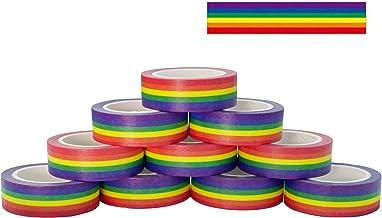 10 Rolls Masking Tape Rainbow Washi Tape DIY Decorative Tapes 0.6 Inches x 11 Yards, Horizontal Pattern