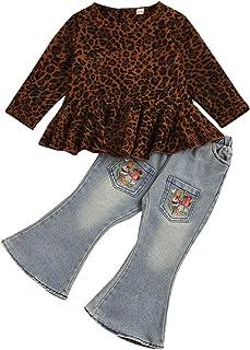 LZCYILANXIULSL طفل رضيع فتاة الخريف مضيئة جينز يتناغم قبالة الكتف سترة علوية & جرس أسفل السراويل أزياء الأطفال