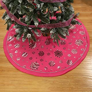 wlflash Christmas Tree Skirt 48 inch 3 Layers for Xmas Holiday Decorations Tree Ornaments Indoor Outdoor (Rose Red Imitation Cotton)