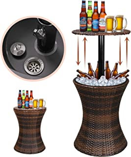 Super Deal Height Adjustable Cool Bar Rattan Style Outdoor Patio Table Cooler All-Weather Wicker Bar Table with Ice Bucket for Party, Pool, Deck, Backyard
