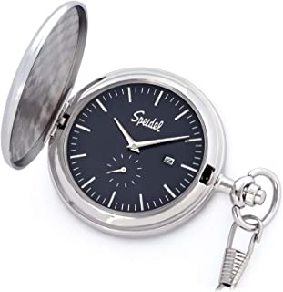 "Speidel Classic Brushed Engravable Pocket Watch with 14"" Chain, Date Window, Seconds Sub-Dial and Luminous Hands"