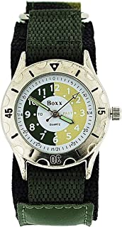 Boxx Time Teacher Green Army Camouflage Velcro Strap Boys Sports Watch