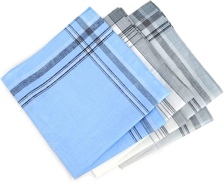 Men S White Blue Grey 12 Pcs Handkerchiefs At Amazon Men S Clothing Store