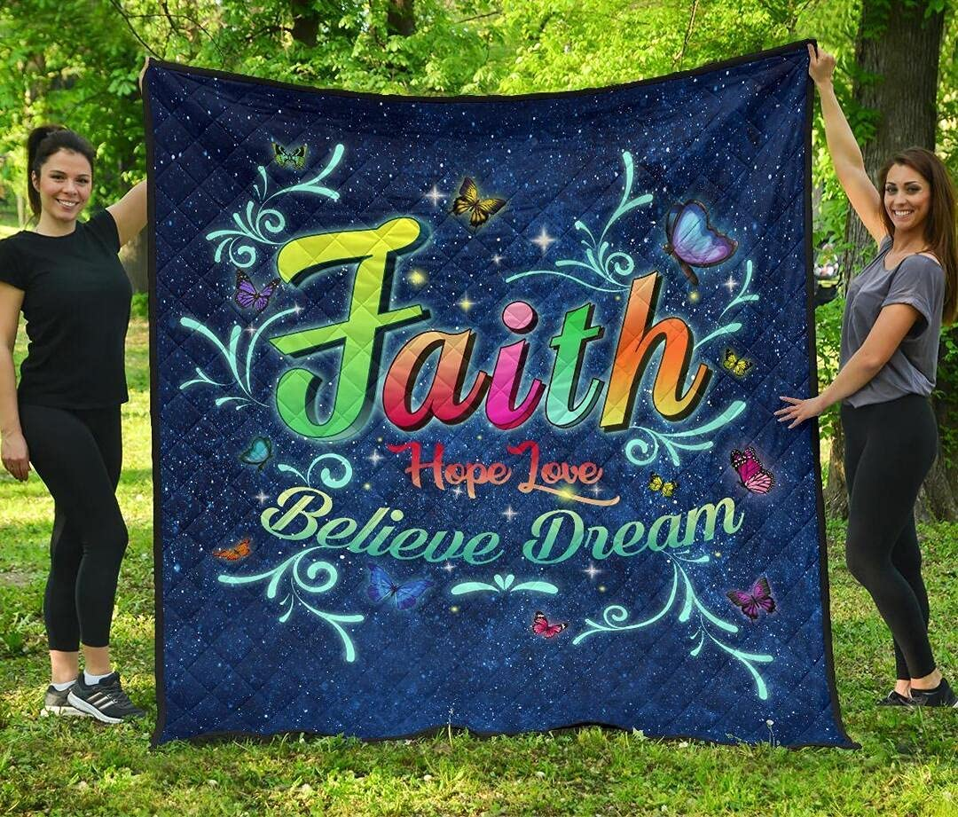 Personalized Butterfly Max 45% OFF Faith Hope Love Dream Quilt Quantity limited Believe King