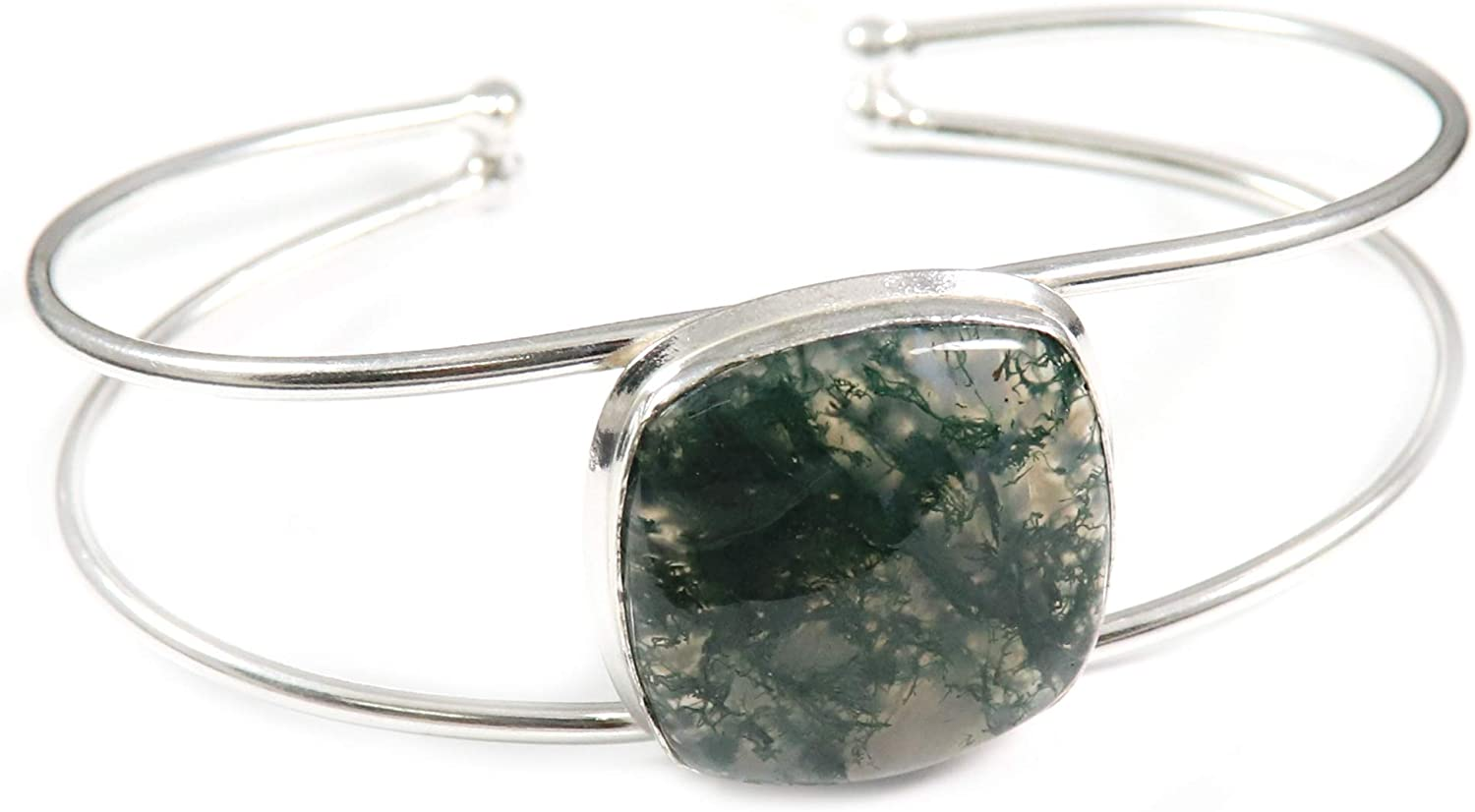 GoyalCrafts Forest Moss Agate Cuff Silver Over item handling Bracelet Plated Jewelr Max 43% OFF