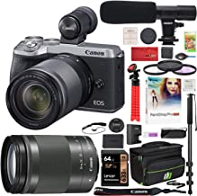 Canon EOS M6 Mark II 2 Mirrorless Digital Camera with 18-150mm f/3.5-6.3 is STM Lens and EVF Kit Silver 3612C021 Bundle with Deco Gear Case + Microphone + Monopod + Filter Set + 64GB Memory Card