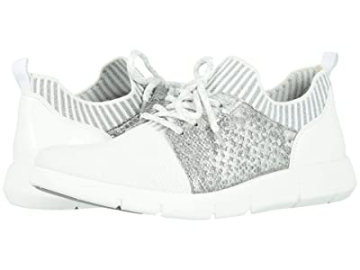 Johnston & Murphy Tamara Perf (White Knit/Silver Metallic Snake-Print Leather) Women