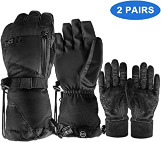 OutdoorMaster Ski Gloves - Waterproof Ski and Snowboard Gloves with Non-Slip Rubber Palms, Removable Liners & Zipper Pocket - for Men