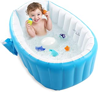 Baby Inflatable Bathtub, Pawsky Portable Infant Toddler Bathing Tub Non Slip Travel Bathtub Mini Air Swimming Pool Kids Thick Foldable Shower Basin, Blue