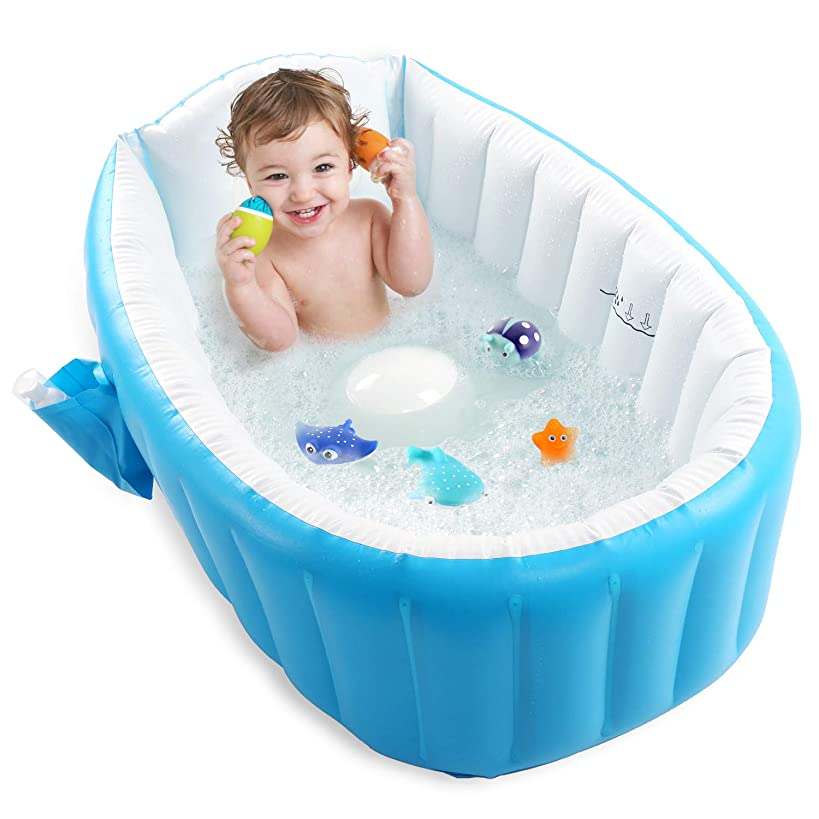 Baby Inflatable Bathtub, Pawsky Portable Infant Toddler Bathing Tub Non Slip Travel Bathtub Mini Air Swimming Pool Kids Thick Foldable Shower Basin, Blue