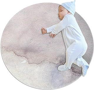 Abstrakt konstverk, barn rund matta polyester överkast matta mjuk pedagogisk tvättbar matta barnkammare tipi tält lekmatta