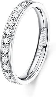 3MM Titanium Ring for Women Cubic Zirconia Engagement Wedding Band CZ Ring Size 4-9
