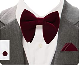 GUSLESON Mens Solid Plaid Velvet Pre-tied Adjustable Bow Tie and Pocket Square Cufflink Set with Gift Box