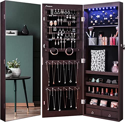 Nicetree 8 LED Mirror Jewelry Cabinet, Jewelry Armoire Organizer with Full Screen Mirror, Wall/Door Mounted, Full Len...