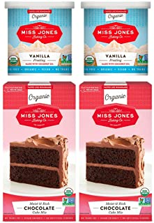 Miss Jones Baking Organic Cake and Cupcake Mix with Buttercream Frosting, Perfect for Icing and Decorating: Moist Chocolate Cake and Vanilla Frosting (Pack of 4)