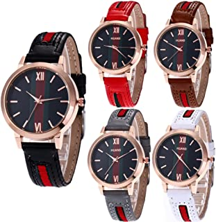 Wholesale 5 Pack PU Leather Watch Analog Quartz Wristwatches for Women Men Lady Teen Girl