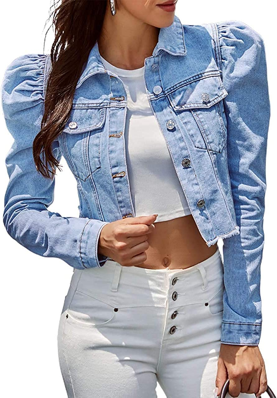 CHARTOU Women's Vintage Puff Sleeve Frayed Short Denim Jacket Crop Tops
