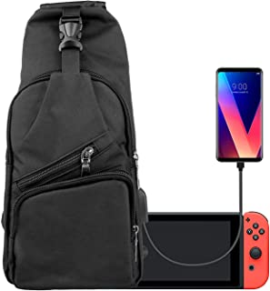 EEEKit Backpack Crossbody Travel Bag for Nintendo Switch Console Joy-Cons and Accessories, Charge Your Phone Via Side USB Charging Interface Black