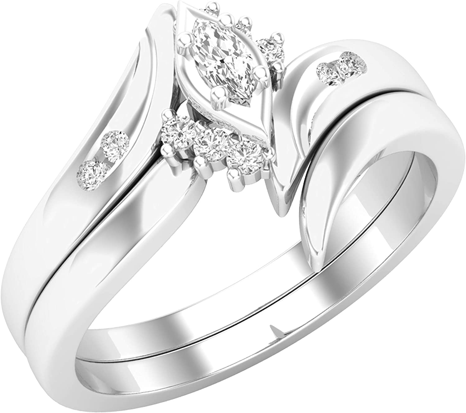 Fashionable Max 73% OFF Dazzlingrock Collection 0.15 Carat White Marquise Round ctw