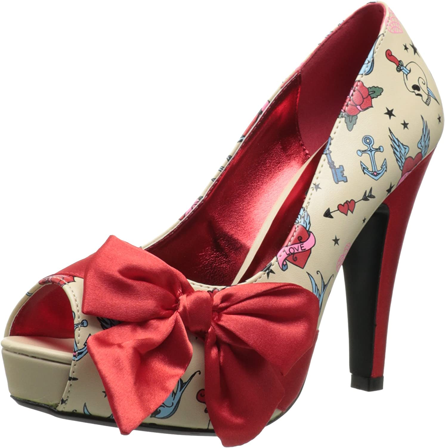 Pin Up Couture Women's 4 1 2 Inch Heel, 1 Inch Hidden Platform Open Toe Pump with Large Satin Bow (Cream Red;9)
