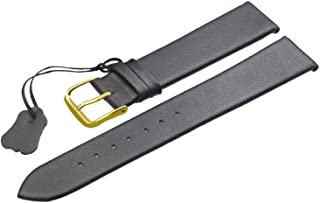 Genuine Leather Watchbands 18 20 22mm Thin Smooth Watch Strap Belt for DW Watches Stainless Steel Buckle,Black Gold Buckle,22mm