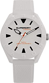 Superdry Men's Quartz Plastic and Silicone Casual Watch, Color:White (Model: SYG243W)