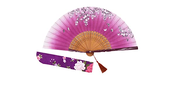 002 Amajiji 8.27 Beautiful Hand-Crafted Chinese Japanese Hand held Folding Fan with First-Class Bamboo Spins and Traditonal Silk Fabrics HBSY