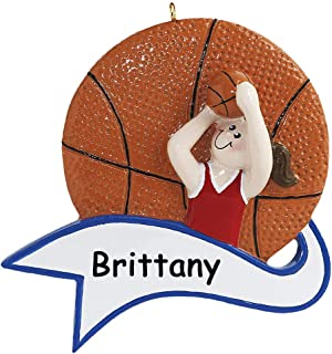 Rudolph and Me Personalized Basketball Player Girl Sports Ball with Banner Christmas Ornament Holiday Tree Decoration with Custom Name