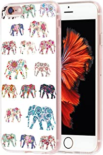 Case for Phone 6S Plus Elephant & Cover for 6S Plus & MUQR Skin Rubber Gel Silicone Slim Drop Proof Protection Protector Compatible with iPhone 6/6S Plus & Vintage Unique Elephant Aztec Animal