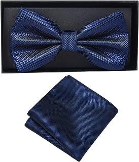 Massi Morino Papillon fazzoletto uomo I Pochette e papillon regolabile I Premium set regalo con fazzoletto da taschino