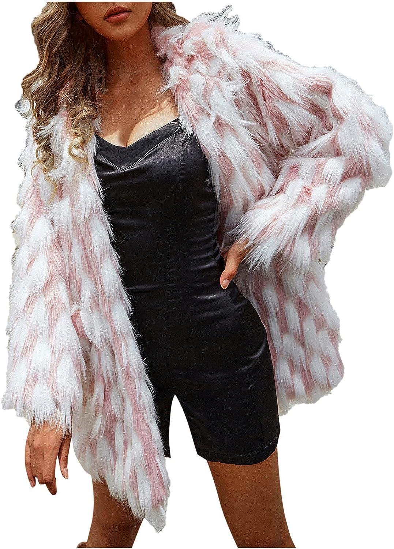 ViYW Womens Ladies Warm Faux Furry Coat Jacket Winter Turn Down Collar Pocket Outerwear Long Sleeve Tops Fashion Outwear