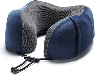 Laie Travel Pillow 100% Pure Memory Foam Neck Pillow, Comfortable & Breathable Cover, Machine Washable, Airplane Travel Kit with 3D Contoured Eye Masks, Earplugs, and Bag, Navy
