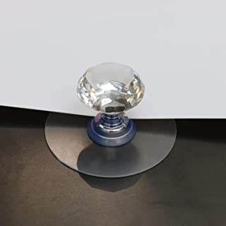 Teuvalley Crystal Raised Toilet Lid Cover Handle, Refrigerator Handle & Toilet Seat Handle Washable Strong Adhesive Shiny Diamond Handle Protect from Bacteria Filth & Hook Set