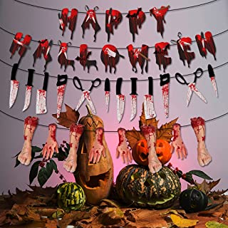 Halloween Scary Banner 3 PCS Bloody Knife Banner Footprints Bloody Hands and Feet Hanging Flags for Vampire Zombie Theme P...